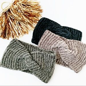 Chenille Knitted Headband- Fawn